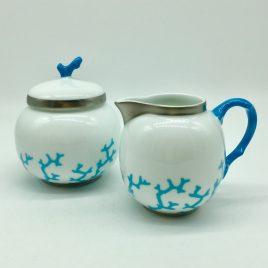 Raynaud – Christobal – Alberto Pinto -turquoise – room stel – melk en suiker