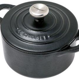 Le Creuset – mini cocotte 10 cm zwart – gietijzer met zwarte knop