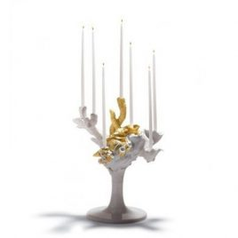 Lladro – Naturo Fantastic – Candle holder for 7 candles – Javier Molina – 24 Karat Gold