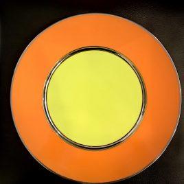 Sieger by Fürstenberg – onderbord 32 cm. – Oranje, Lime en zilver