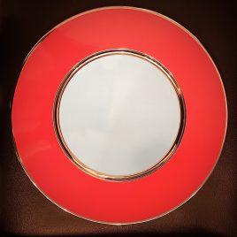 Sieger by Fürstenberg – onderbord 32 cm. – Rood, turkoise en zilver