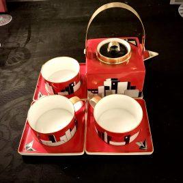 Beeldschoon thee servies – Atelier K van Kunst – handbeschilderd met skyline – Uniek stuk