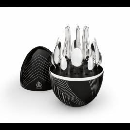 Christofle – Karl Lagerfeld – Mood egg zwart – verzilverd bestek 6 personen