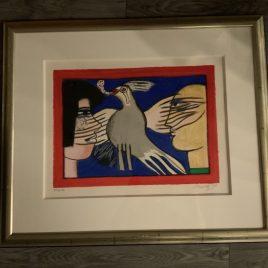 Corneille- zeefdruk – 25/30HC-1998-Dialogue avec l'oiseau