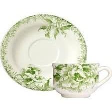 gien-fleur de chine- groen -vert- ontbijt kop & schotel