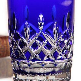 waterford- Lismore- dof -tumbler- cut crystal- kobalt- blauw
