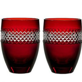 waterford- john rocha- red cut crustal- tumblers