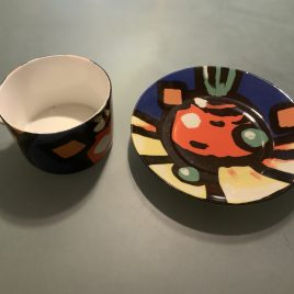 ceramique- XO-Apilco- ontbijtkop & schotel