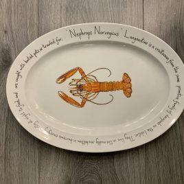 jersey pottery-richard bramble-fishplates–ovale dish -langoustine