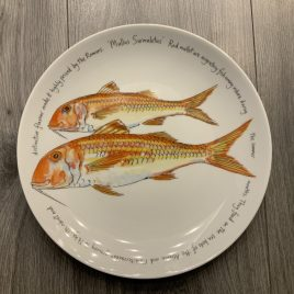 jersey pottery-richard bramble-fishplates-limoges-coupe plate -red mullet