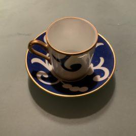 richard Ginori – oscar de la rente – blauw servies- espresso kop en schotel