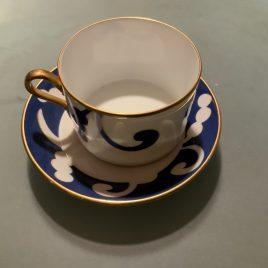 richard Ginori – oscar de la rente – blauw servies- thee/koffie kop & schotel