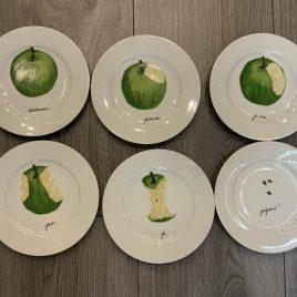 Porcelaine de Sologne- apple set of 6 fruit plates- 18 cm -limoges